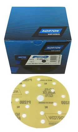 100 - 150 mm x 1200 grit Norton Pro Film Q275 15 Hole Hook & Loop Disc