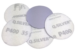 5 - 50 mm diameter x 80 grit Mirka Q Silver Hook & Loop disc