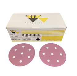 100 - 90 mm x 40 grit sia 1950 7 hole Hook and Loop Sanding disc