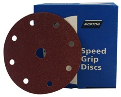 150 mm diameter x 180 grit Norton H259 9 hole Hook & Loop disc