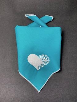 Heart and Paws Embroidered Dog Bandana - Petrol