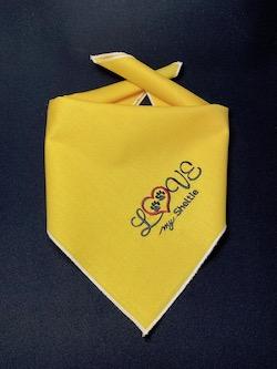 """Love My Sheltie"" Embroidered Dog Bandana - Gold"