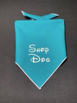 """""""Shop Dog"""" Embroidered Dog Bandana - Petrol"""