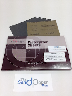Pack of 50 - 230 x 140 mm x 3000 grit SUNMIGHT D532 Wet and Dry Sheet