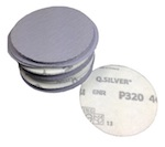 75 mm diameter x 320 grit Mirka Q Silver Hook & Loop Sanding Disc