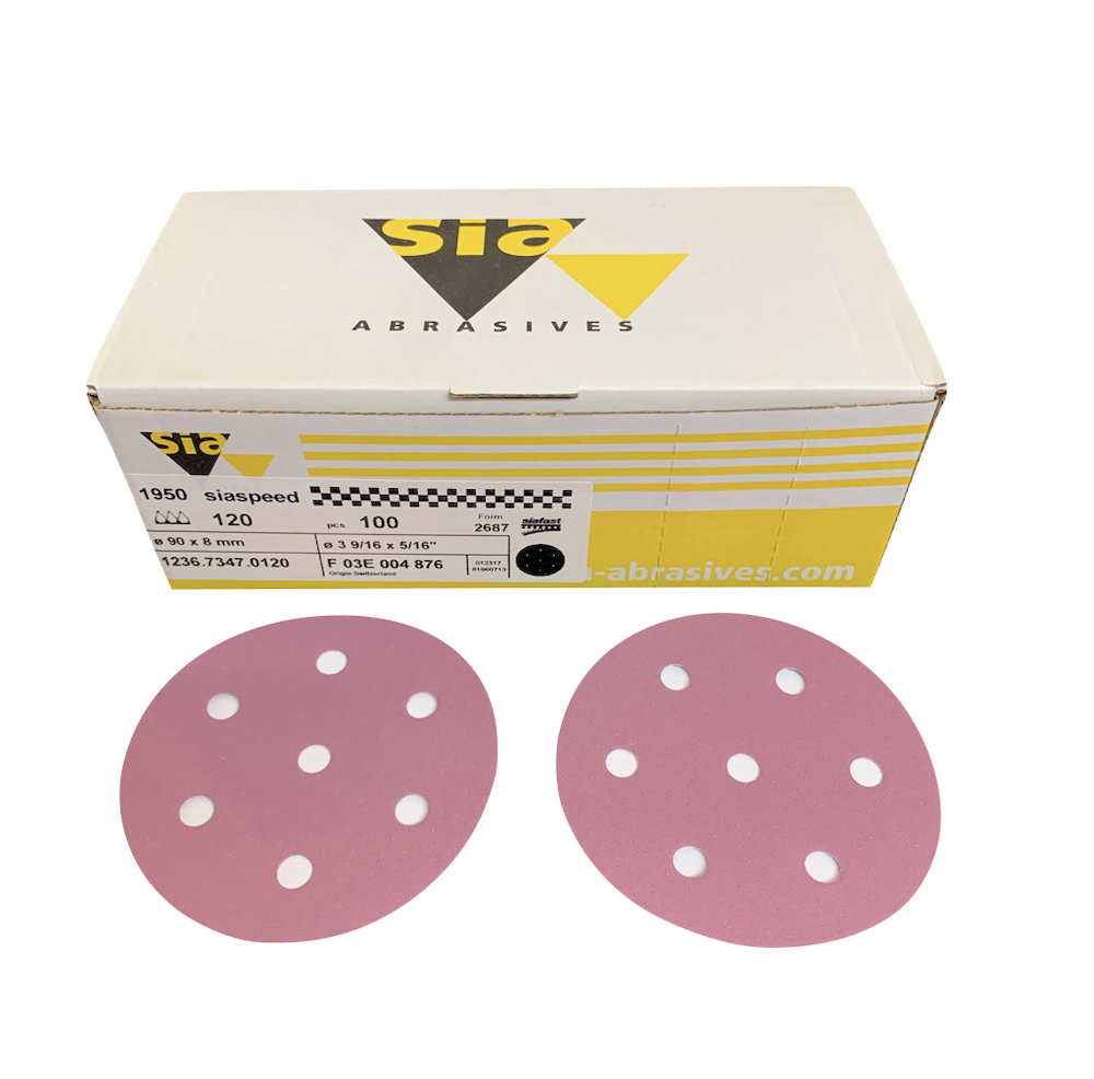100 - 90 mm x 60 grit sia 1950 7 hole Hook and Loop Sanding disc