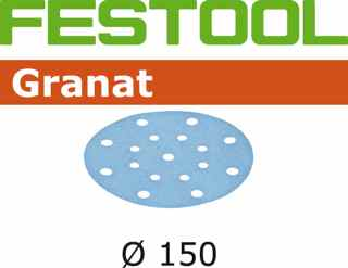 50 - 150 mm 40 grit FESTOOL Granat 17 hole Hook and Loop disc