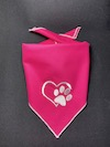 Heart and Paw Embroidered Dog Bandana - Pink