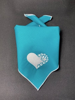 Heart and Paws Embroidered Dog Bandana - Petrol
